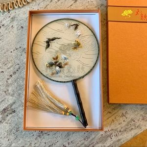 Beautiful Embroidered Chinese Butterly Fan Gift